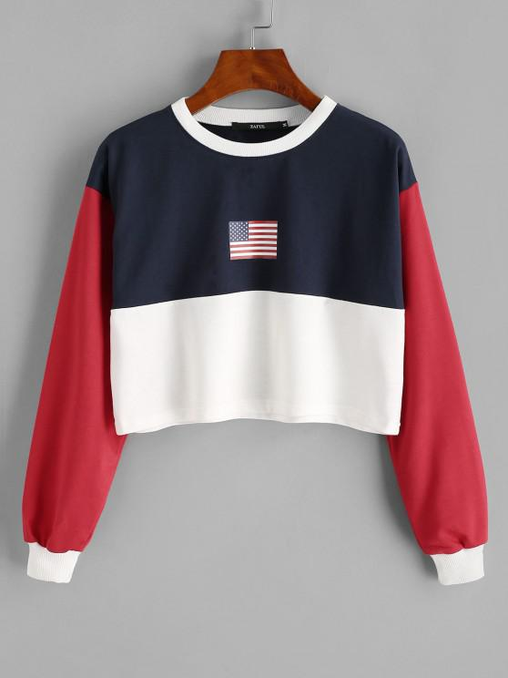 outfits Patriotic American Flag Colorblock Crop Sweatshirt - DEEP BLUE S