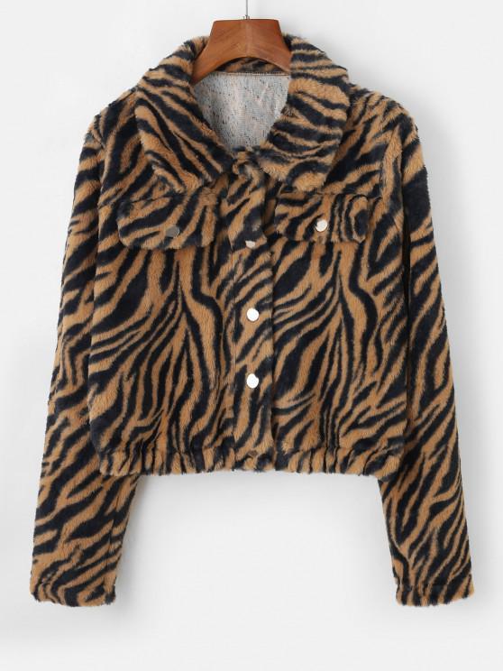 fancy ZAFUL Tiger Striped Mock Pockets Cropped Faux Fur Jacket - TAN S