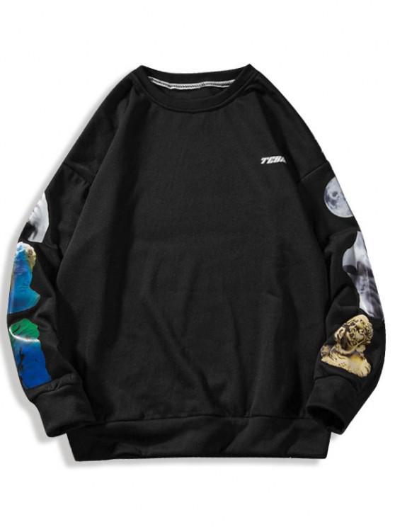 Sculpture Letter Print Crew Neck Sweatshirt - أسود M