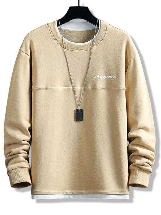 Letter Print Colorblock Double Hem Sweatshirt - كاكي S