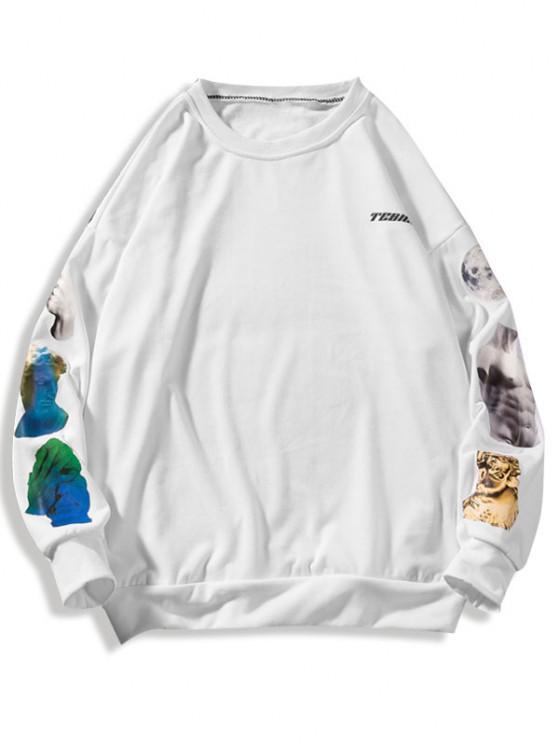 outfits Sculpture Letter Print Crew Neck Sweatshirt - WHITE L