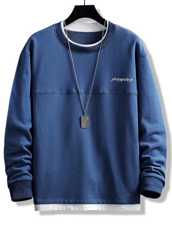 ladies Letter Print Colorblock Double Hem Sweatshirt - DEEP BLUE XS
