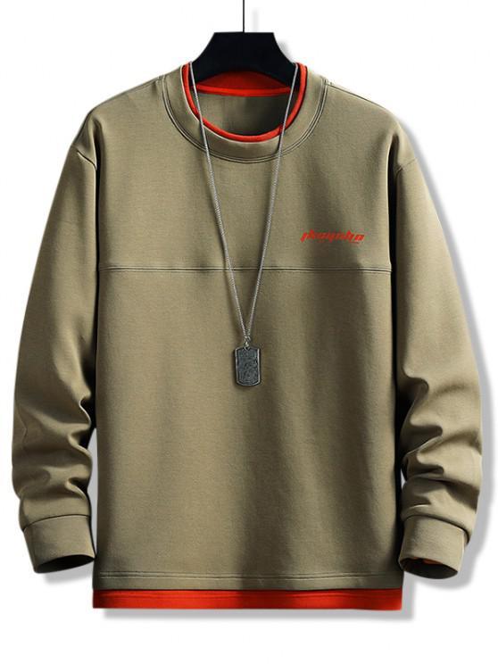 Buchstabe Druck Farbblock Sweatshirt mit Abgerundetem Saum - Armeegrün M