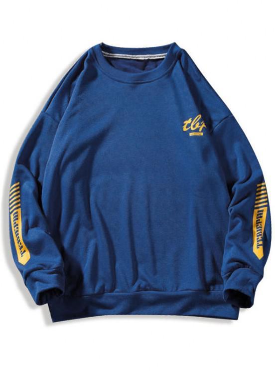 lady Letter Stripes Pattern Crew Neck Sweatshirt - BLUE 3XL
