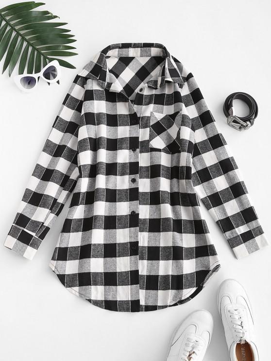 ladies Plaid Flannel Chest Pocket Shirt Dress - BLACK L