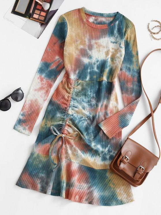 Tie Dye Cinched Flounce Ribbed Tee Dress - متعدد L