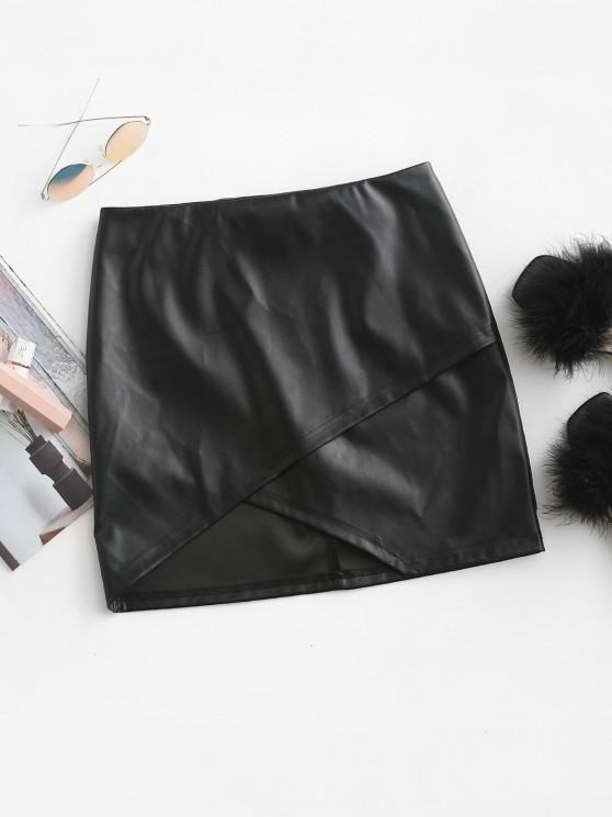 hot ZAFUL Faux Leather Asymmetric Tulip Mini Skirt - BLACK M