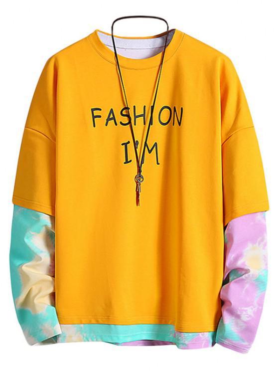 Letter Print Tie Dye Faux Twinset Sweatshirt - الأصفر 2XL