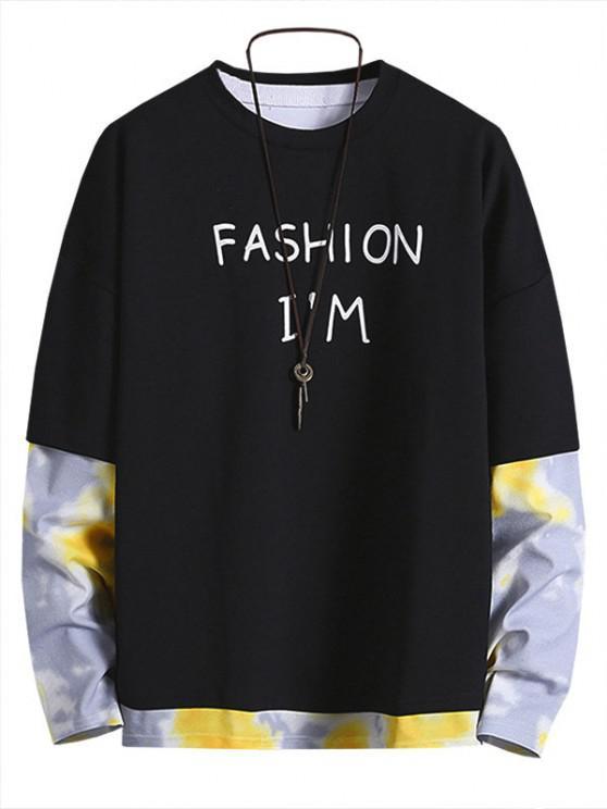 Letter Print Tie Dye Faux Twinset Sweatshirt - أسود 2XL