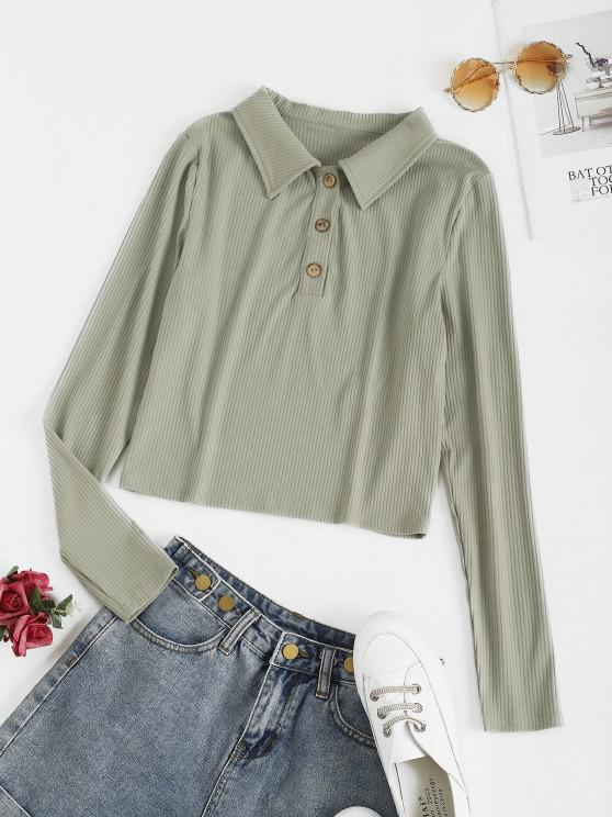 new ZAFUL Ribbed Button Placket Crop Knitwear - CYAN OPAQUE M