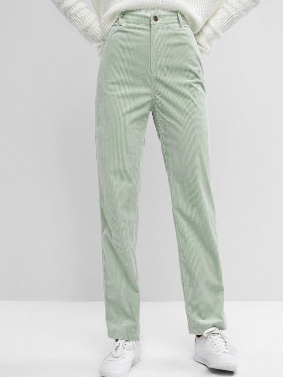 ZAFUL Pantalones de Pana Delgados con Cintura Alta - Verde claro M