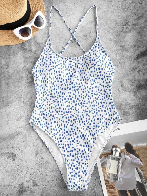 women's ZAFUL Animal Print Crisscross High Leg One-piece Swimsuit - LIGHT BLUE S