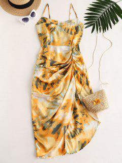 Printed Draped Cami Asymmetrical Dress - Multi-a S