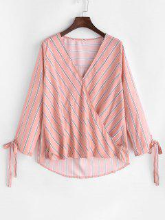 Striped Tied Cuff Curved Hem Blouse - Light Pink S