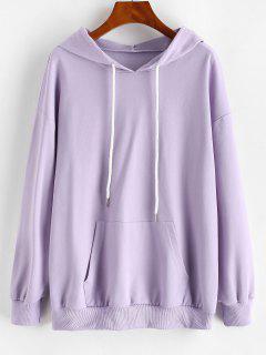 Drop Shoulder Moon Eclipse Kangaroo Pocket Hoodie - Light Purple S