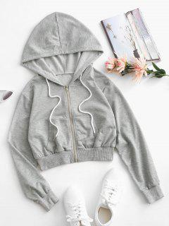 Zip Up Drawstring Butterfly Back Hoodie - Light Gray S