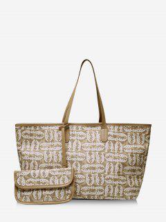 2 Piece Cartoon Fish Print Large Capacity Tote Bag Sets - Light Khaki