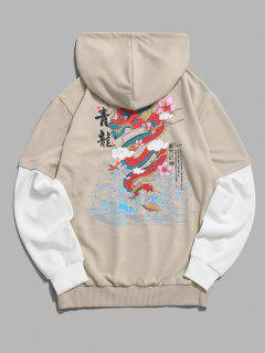 ZAFUL Chinoiserie Dragon Floral Print Fuax Twinset Hoodie - Light Coffee M