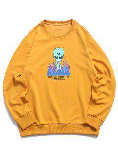 ZAFUL Fire Flame Smoking ET Letter Graphic Sweatshirt - Deep Yellow S