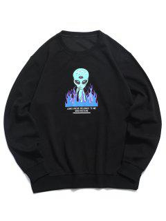 ZAFUL Sweatshirt Graphique Lettre Flamme - Noir 2xl
