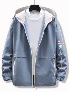 Letter Print Multi Zip Elastic Hem Hooded Jacket - Dodger Blue Xs