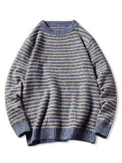 Crew Neck Striped Pattern Sweater - Blue S