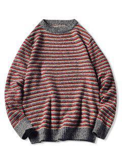 Crew Neck Striped Pattern Sweater - Red Xs