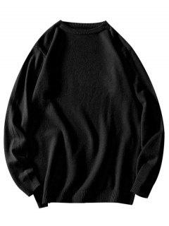 Crew Neck Plain Pullover Sweater - Black Xs