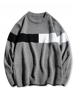 Contrast Crew Neck Pullover Sweater - Gray Xs