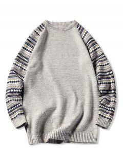 Tribal Pattern Raglan Sleeve Sweater - Beige L