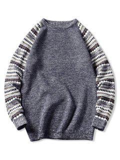 Tribal Pattern Raglan Sleeve Sweater - Slate Blue Xs