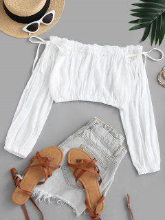 Off Shoulder Frilled Tie Semi-sheer Beach Top - White