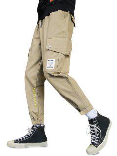 Letter Embroidery Hook Loop Hem Pencil Cargo Pants - Khaki Xs