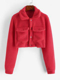 Cropped Snap Button Cargo Teddy Jacket - Red M
