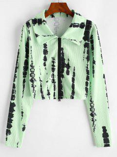Ribbed Tie Dye Zip Up Cropped Jacket - Green Xl