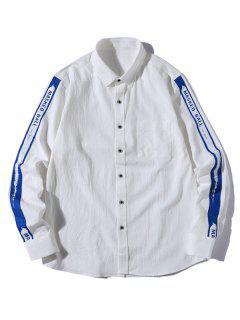 Chemise Décontractée Lettre Boutonnée à Bretelle - Blanc L