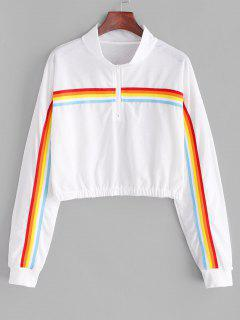 Rainbow Striped Zip Drop Shoulder Sweatshirt - White Xl