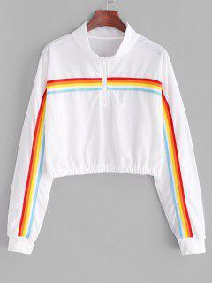 Sweat-shirt Zippé à Rayure Arc-en-Ciel à Goutte Epaule - Blanc Xl