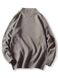 Mock Neck Drop Shoulder Sweater - Gray S