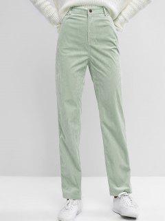 ZAFUL High Waisted Corduroy Pants - Light Green M
