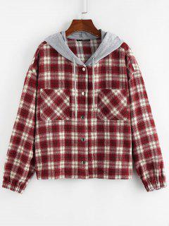 ZAFUL Hooded Plaid Shirt Jacket - Red S