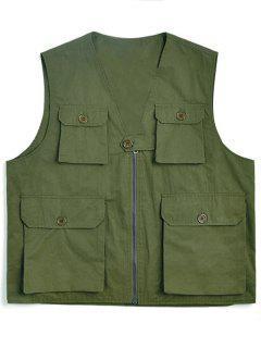 Solid Multi Flap Pockets Cargo Vest - Army Green Xl