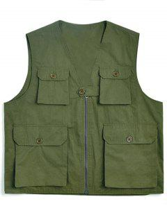 Solid Multi Flap Pockets Cargo Vest - Army Green 2xl