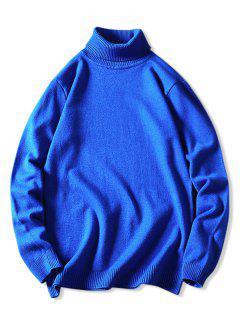 Turtleneck Plain Pullover Sweater - Blue Xs