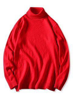 Rollkragen-Pullover-Strickjacke Plain - Rot Xs