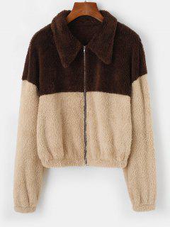 ZAFUL Two Tone Bicolor Faux Fur Zip Jacket - Tan L
