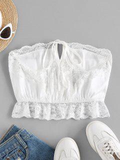 ZAFUL Strapless Lace Insert Lingerie Bralette - White M