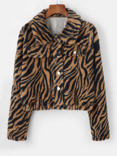 ZAFUL Tiger Striped Mock Pockets Cropped Faux Fur Jacket - Tan M