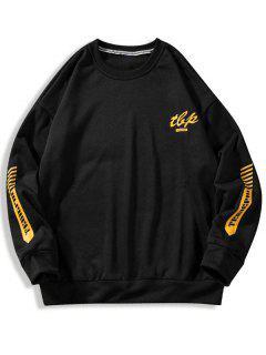 Letter Stripes Pattern Crew Neck Sweatshirt - Black 2xl
