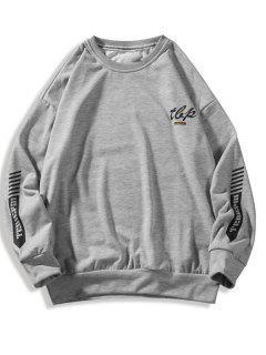 Letter Stripes Pattern Crew Neck Sweatshirt - Light Gray Xl